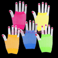 Short UV Neon Fishnet Gloves