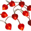 10 Red Heart String Lights